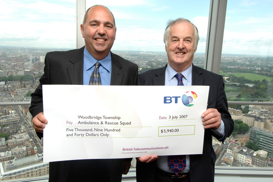 Sir Christopher Bland of British Telecom presents donation to WTARS
